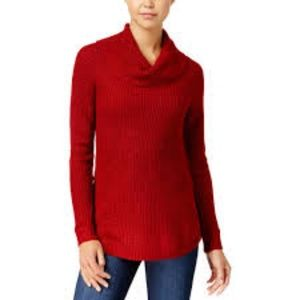 BCX Red Shimmery Cowl Neck Long Sleeve Sweater S